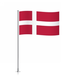 Flag of denmark waving on a metallic pole vector