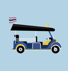 Flat tuk tuk in thailand with thai flag vector