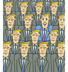 happy man in the sad crowd vector image vector image