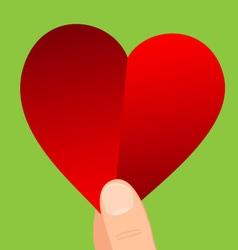 Heart in hand vector image