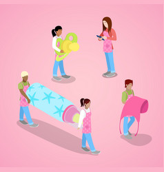 Isometric people with bottle and pacifier vector