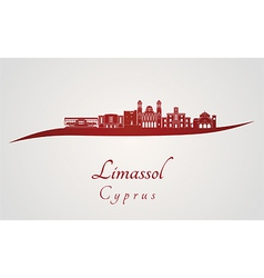 Limassol skyline in red vector image