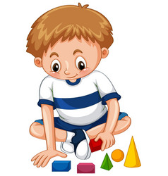 Little boy playing shapes vector