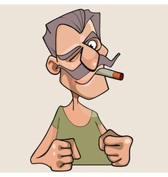 Menacing cartoon mustached man with a cigarette vector