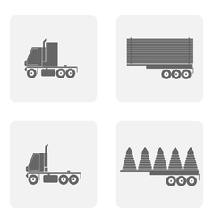 monochrome icon set with truck vector image vector image