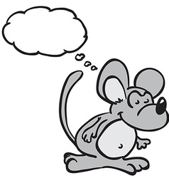 mouse with thought bubble vector image vector image