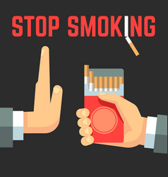 No smoking concept hand with cigarette and vector