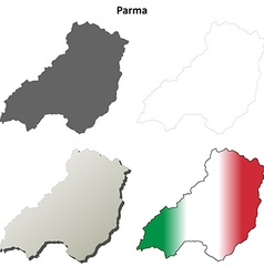 Parma blank detailed outline map set vector