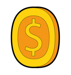 pixelated coin game icon vector image