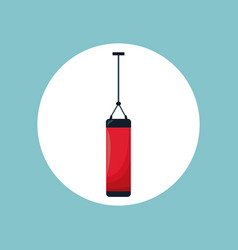 Punching bag sport equipment vector