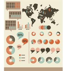 Retro infographics and ui elements vector
