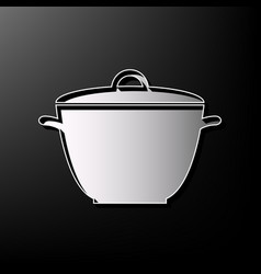 Saucepan simple sign gray 3d printed icon vector