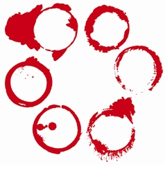 Set of 6 red round grunge ink wine stains vector
