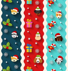 Set seamless vertical wallpaper with heads dogs vector