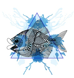 Sketch zentangle fish in triangle frame with vector