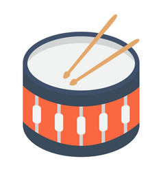 snare drum flat icon music and instrument vector image