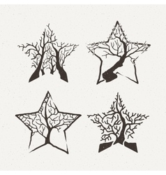 Star trees set Pattern vector image vector image