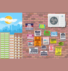 Various tear off papers ad on brick wall vector