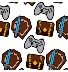video game treasure chest shield sword control vector image