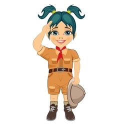 Young happy boy scout girl doing a hand sign vector
