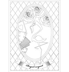 Coloring page alice in wonderland royal croquet vector