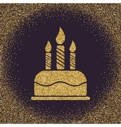 The birthday cake with candles Dessert symbol vector image