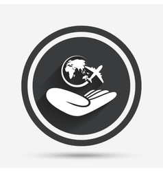 World trip insurance sign Hand holds earth vector image