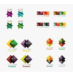 Collection of geometric paper infographic vector