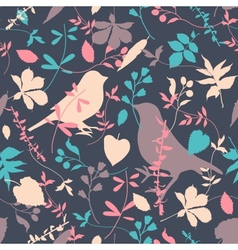 Floral seamless with birds vector image