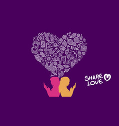 Social media share love lesbian concept design vector