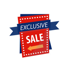 Exclusive sale sign on bright rectangular vector