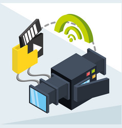 Isometric camcorder with files apps and net wifi vector