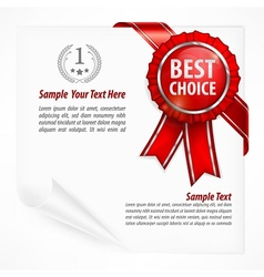 Red award label on paper vector image