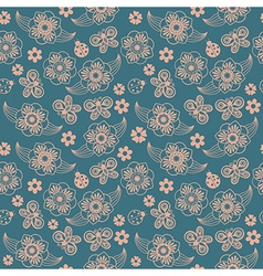 Spring seamless pattern with flowers and ladybirds vector image