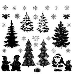 Christmas cartoon set black silhouettes vector image