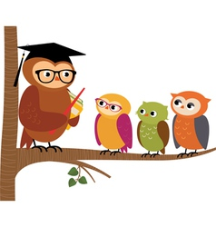 Owl teacher and his students vector