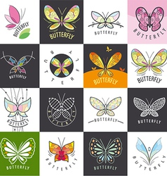 large set of logos butterflies vector image