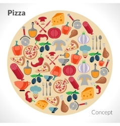 Pizza circle concept vector