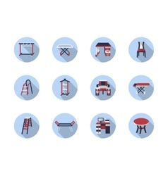 Home care flat round icons vector