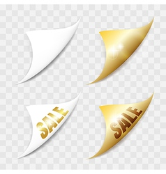 White and gold paper stickers vector