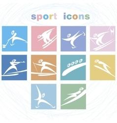 Winter games icon set vector image