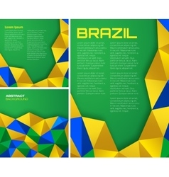 Set of geometric backgrounds - brazil flag colors vector