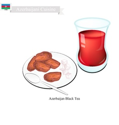 Traditional black hot tea in azerbaijan vector