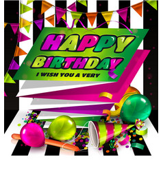 Happy birthday greeting card text on folded vector