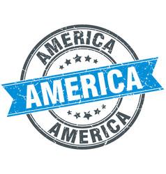 America blue round grunge vintage ribbon stamp vector