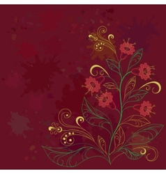 background with contours flowers vector image vector image