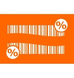 barcode with percent sign vector image vector image