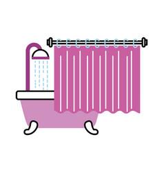 Bathroom bathtub shower water curtain interior vector
