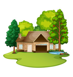 Brick house in the lawn vector