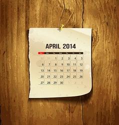 Calendar April 2014 vector image vector image